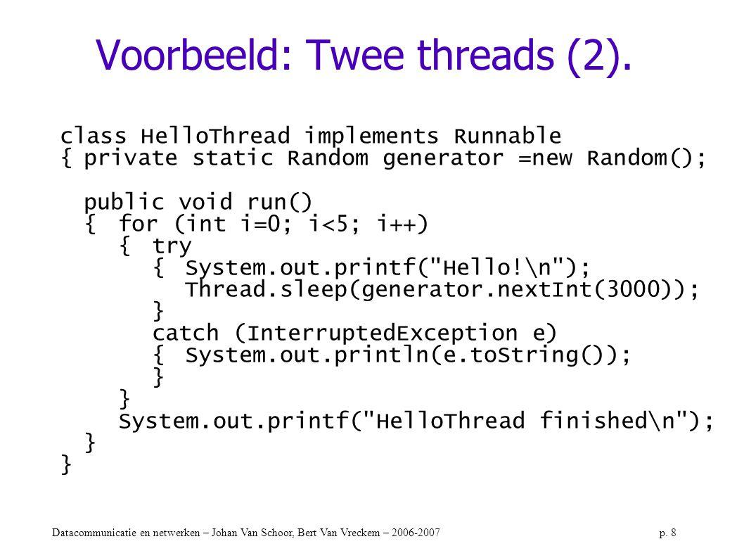 Datacommunicatie en netwerken – Johan Van Schoor, Bert Van Vreckem – 2006-2007p. 8 Voorbeeld: Twee threads (2). class HelloThread implements Runnable