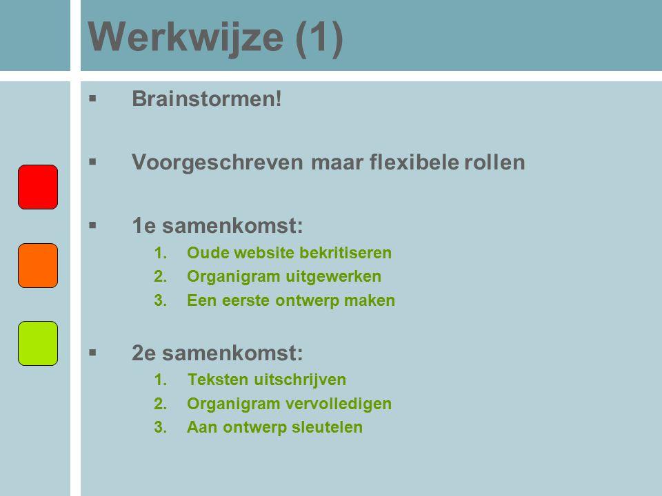 Werkwijze (1)  Brainstormen!  Voorgeschreven maar flexibele rollen  1e samenkomst: 1.Oude website bekritiseren 2.Organigram uitgewerken 3.Een eerst