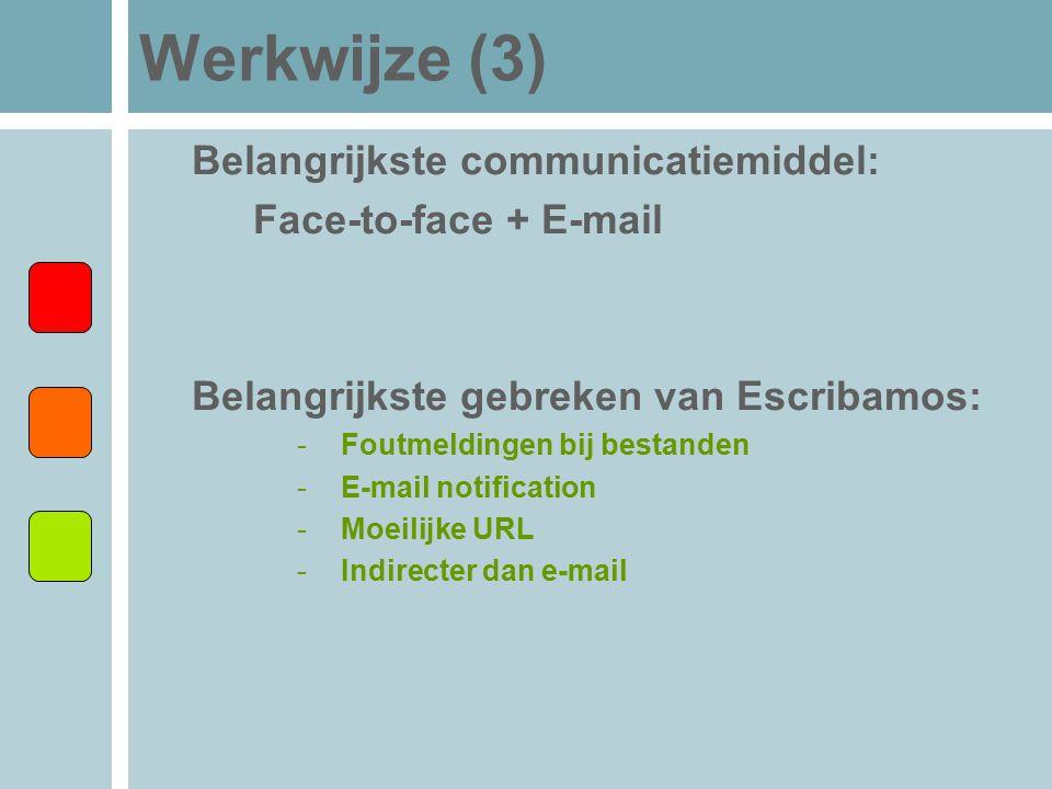 Werkwijze (3) Belangrijkste communicatiemiddel: Face-to-face + E-mail Belangrijkste gebreken van Escribamos: -Foutmeldingen bij bestanden -E-mail noti
