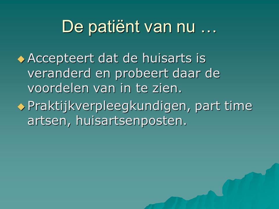 De patiënt van nu …  Accepteert dat de huisarts is veranderd en probeert daar de voordelen van in te zien.