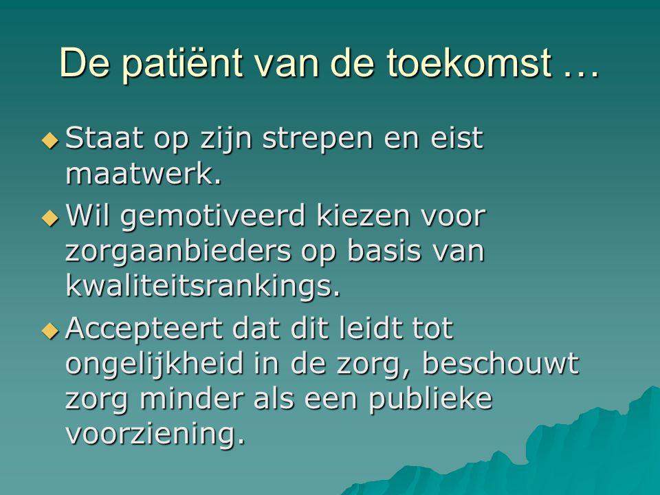 De patiënt van de toekomst …  Staat op zijn strepen en eist maatwerk.