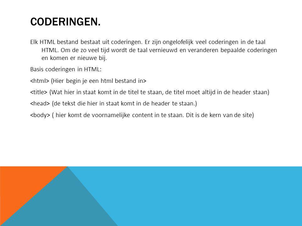 CODERINGEN. Elk HTML bestand bestaat uit coderingen.