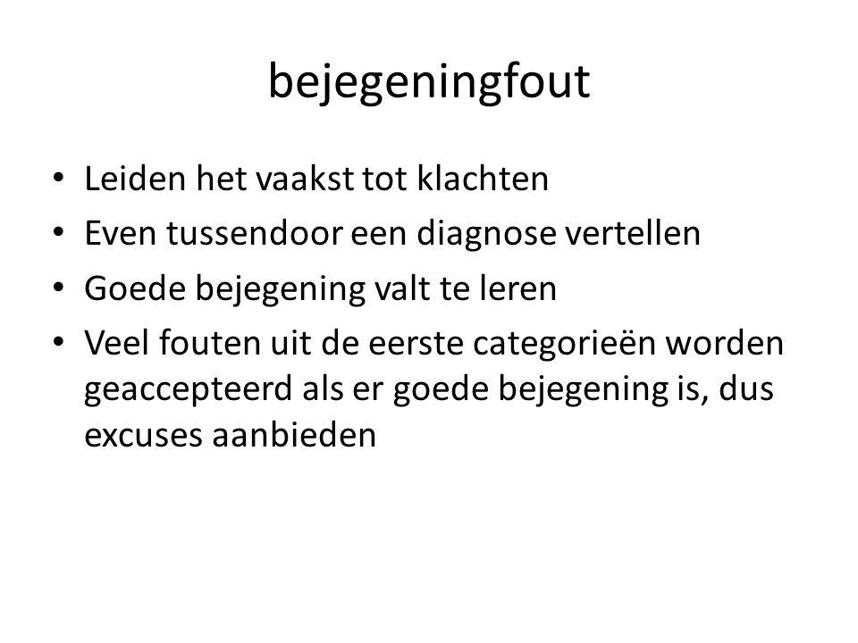 bejegeningfout Leiden het vaakst tot klachten Even tussendoor een diagnose vertellen Goede bejegening valt te leren Veel fouten uit de eerste categori
