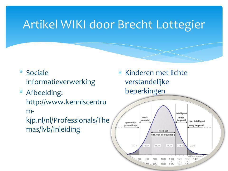 Artikel WIKI door Brecht Lottegier *Sociale informatieverwerking *Afbeelding: http://www.kenniscentru m- kjp.nl/nl/Professionals/The mas/lvb/Inleiding  Kinderen met lichte verstandelijke beperkingen