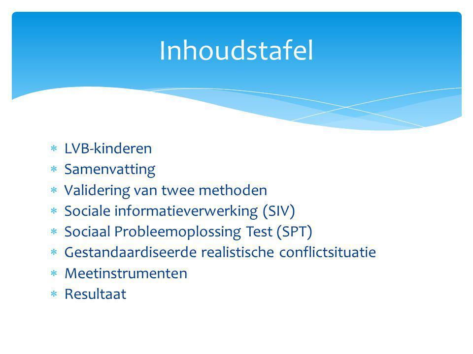  LVB-kinderen  Samenvatting  Validering van twee methoden  Sociale informatieverwerking (SIV)  Sociaal Probleemoplossing Test (SPT)  Gestandaard
