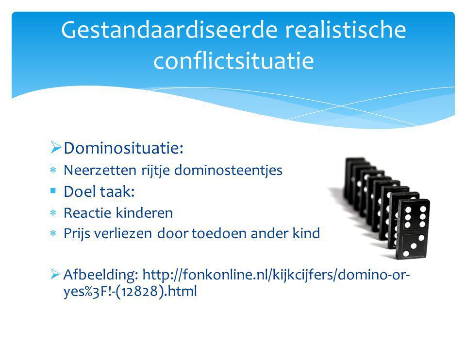 Dominosituatie:  Neerzetten rijtje dominosteentjes  Doel taak:  Reactie kinderen  Prijs verliezen door toedoen ander kind  Afbeelding: http://fonkonline.nl/kijkcijfers/domino-or- yes%3F!-(12828).html Gestandaardiseerde realistische conflictsituatie