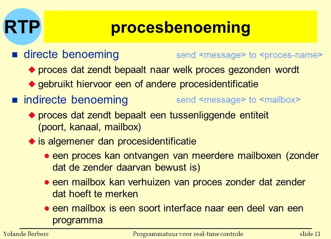 RTP slide 11Programmatuur voor real-time controleYolande Berbers procesbenoeming n directe benoeming u proces dat zendt bepaalt naar welk proces gezonden wordt u gebruikt hiervoor een of andere procesidentificatie n indirecte benoeming u proces dat zendt bepaalt een tussenliggende entiteit (poort, kanaal, mailbox) u is algemener dan procesidentificatie l een proces kan ontvangen van meerdere mailboxen (zonder dat de zender daarvan bewust is) l een mailbox kan verhuizen van proces zonder dat zender dat hoeft te merken l een mailbox is een soort interface naar een deel van een programma send to
