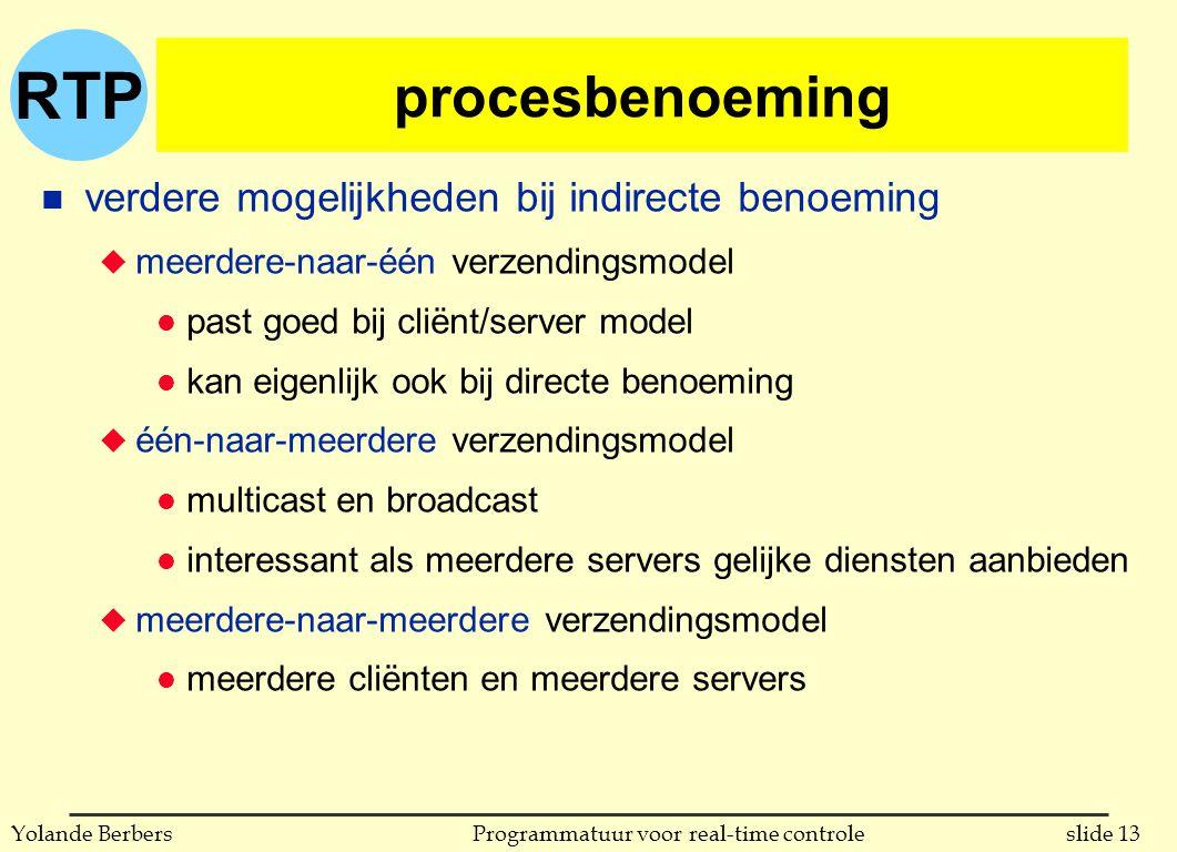 RTP slide 13Programmatuur voor real-time controleYolande Berbers procesbenoeming n verdere mogelijkheden bij indirecte benoeming u meerdere-naar-één verzendingsmodel l past goed bij cliënt/server model l kan eigenlijk ook bij directe benoeming u één-naar-meerdere verzendingsmodel l multicast en broadcast l interessant als meerdere servers gelijke diensten aanbieden u meerdere-naar-meerdere verzendingsmodel l meerdere cliënten en meerdere servers