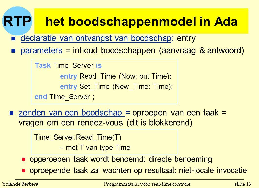 RTP slide 16Programmatuur voor real-time controleYolande Berbers het boodschappenmodel in Ada Task Time_Server is entry Read_Time (Now: out Time); entry Set_Time (New_Time: Time); end Time_Server ; n declaratie van ontvangst van boodschap: entry n parameters = inhoud boodschappen (aanvraag & antwoord) Time_Server.Read_Time(T) -- met T van type Time n zenden van een boodschap = oproepen van een taak = vragen om een rendez-vous (dit is blokkerend) l opgeroepen taak wordt benoemd: directe benoeming l oproepende taak zal wachten op resultaat: niet-locale invocatie