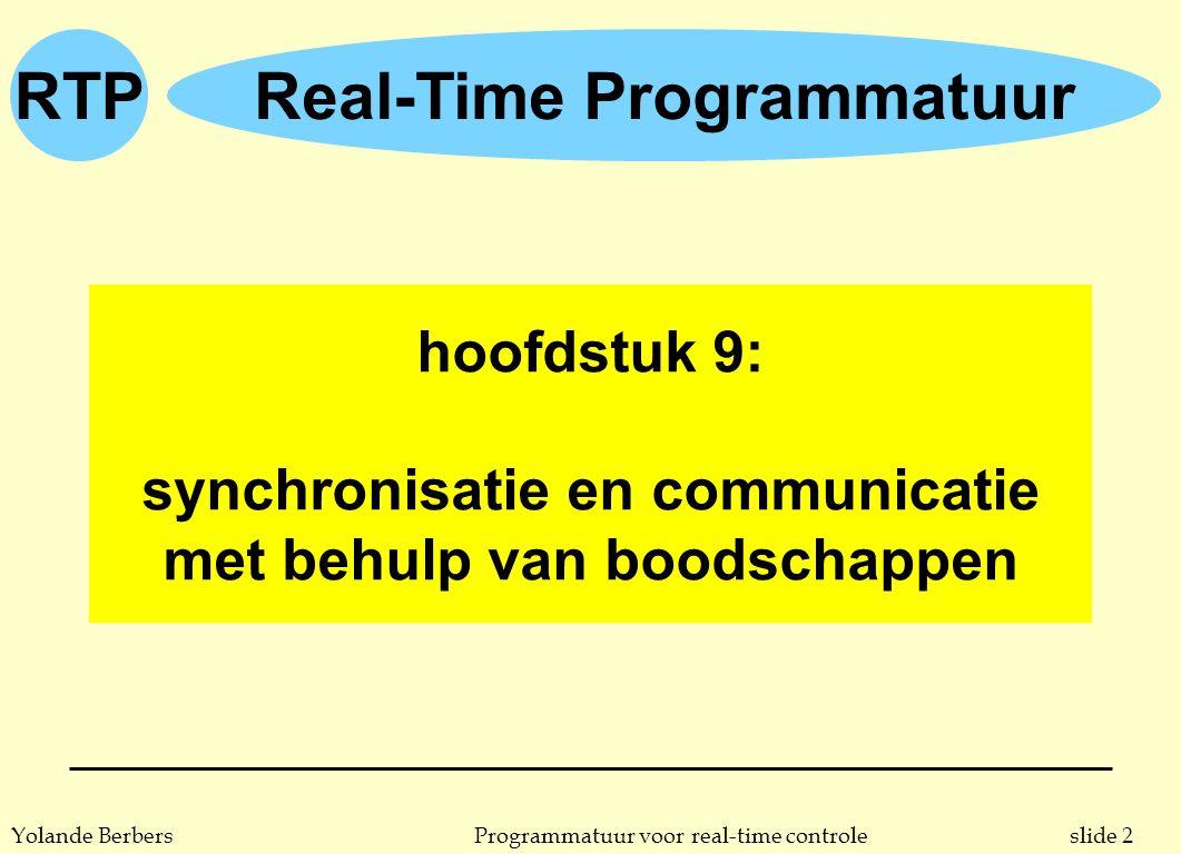 slide 2Programmatuur voor real-time controleYolande Berbers RTPReal-Time Programmatuur hoofdstuk 9: synchronisatie en communicatie met behulp van boodschappen