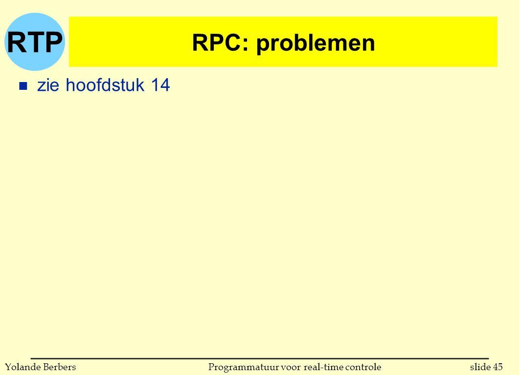 RTP slide 45Programmatuur voor real-time controleYolande Berbers RPC: problemen n zie hoofdstuk 14