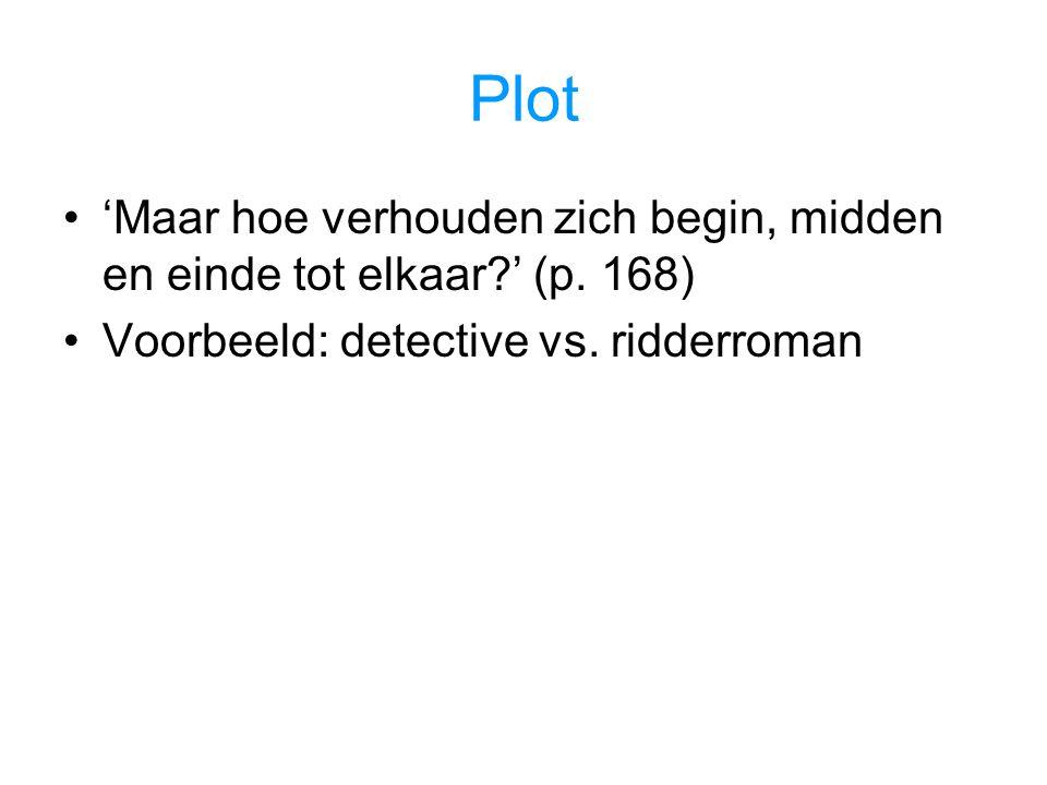 Plot 'Maar hoe verhouden zich begin, midden en einde tot elkaar?' (p. 168) Voorbeeld: detective vs. ridderroman