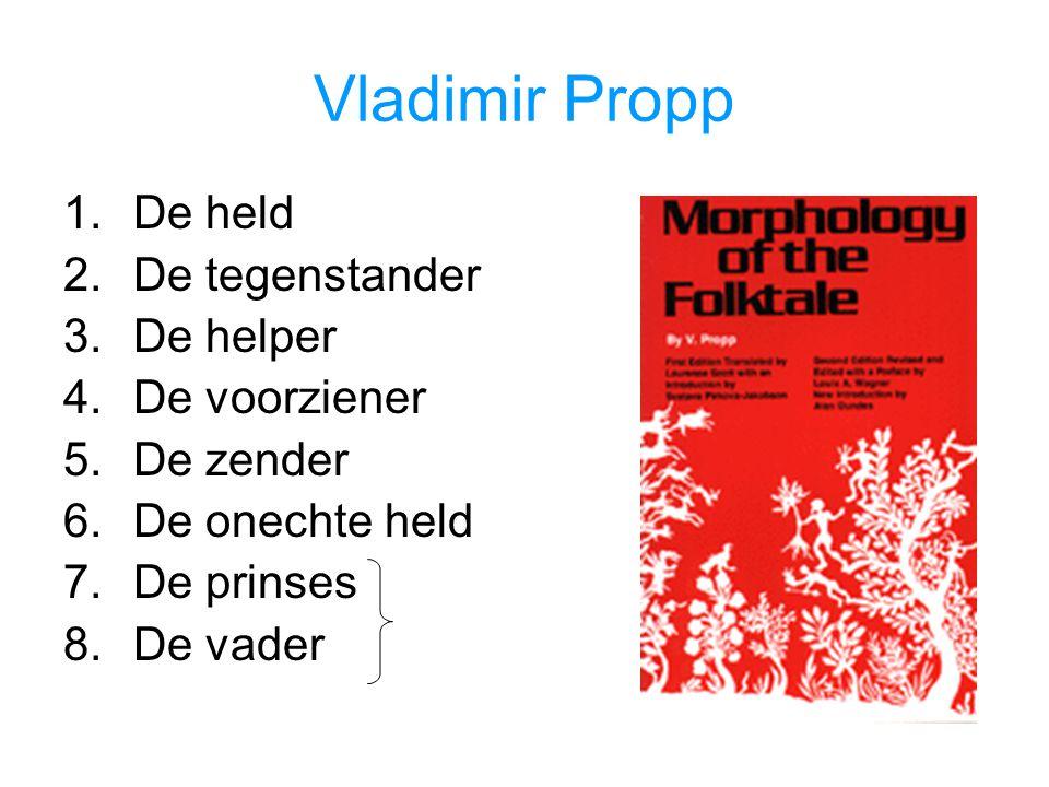Vladimir Propp 1.De held 2.De tegenstander 3.De helper 4.De voorziener 5.De zender 6.De onechte held 7.De prinses 8.De vader