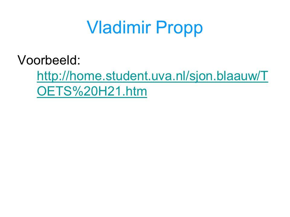 Vladimir Propp Voorbeeld: http://home.student.uva.nl/sjon.blaauw/T OETS%20H21.htm http://home.student.uva.nl/sjon.blaauw/T OETS%20H21.htm