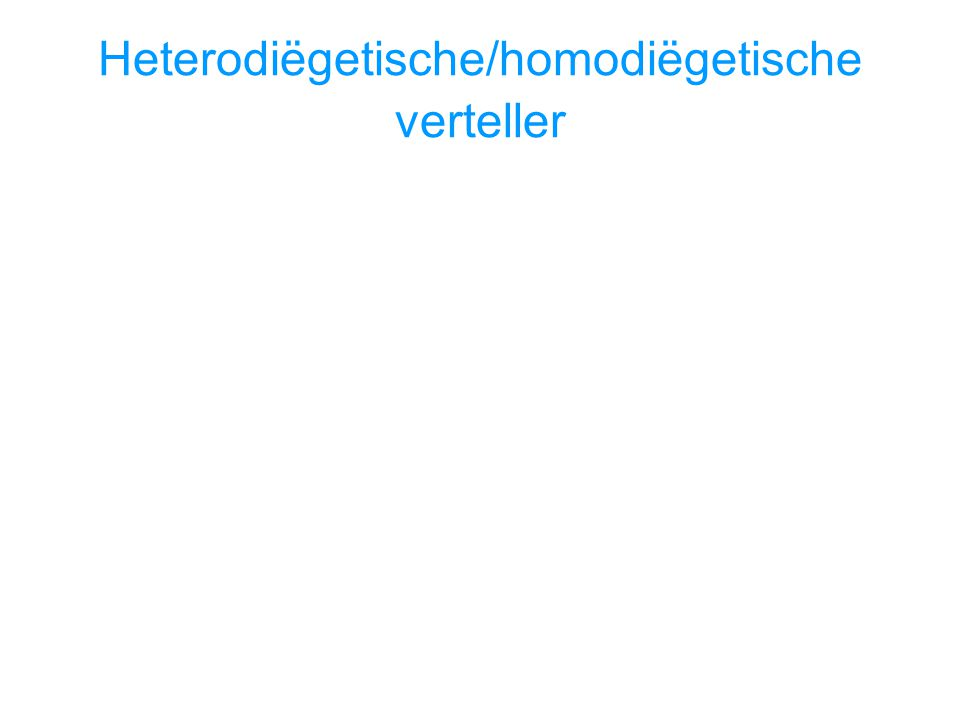 Heterodiëgetische/homodiëgetische verteller