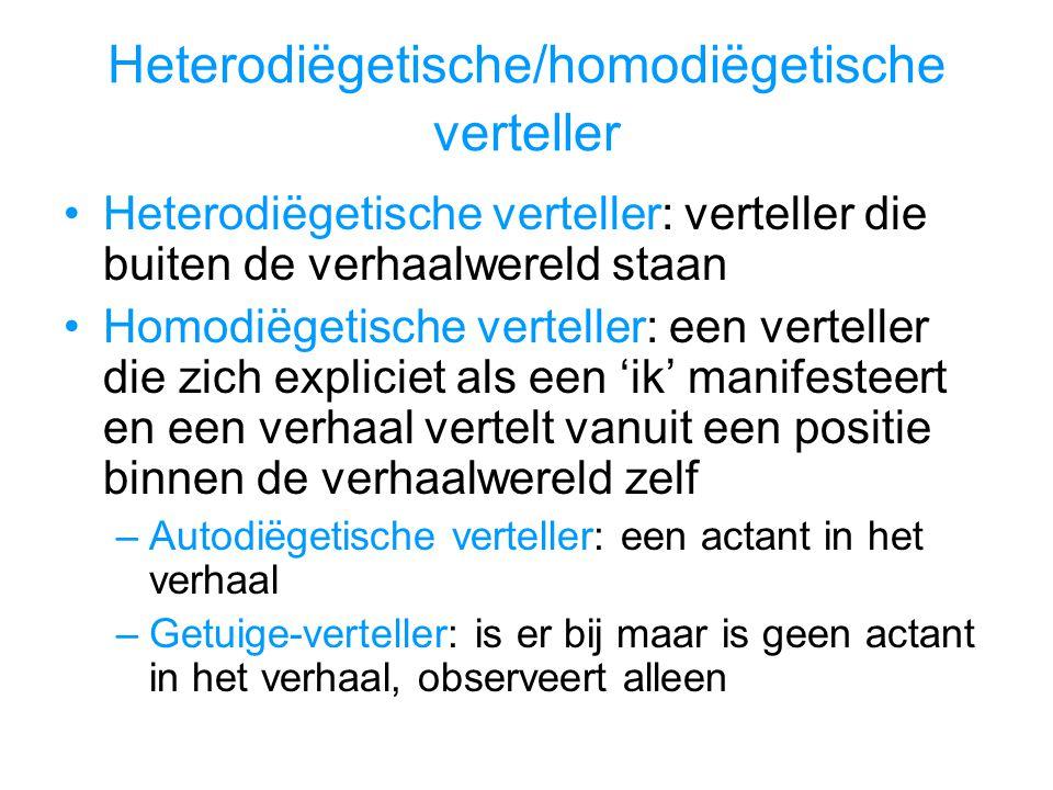 Heterodiëgetische verteller: verteller die buiten de verhaalwereld staan Homodiëgetische verteller: een verteller die zich expliciet als een 'ik' mani
