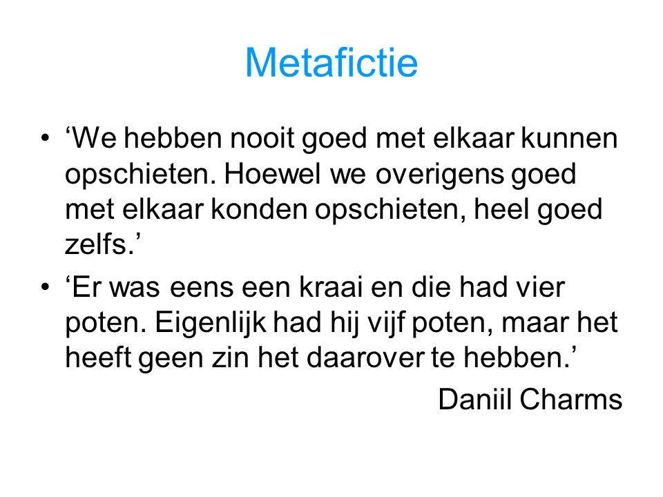 Metafictie 'We hebben nooit goed met elkaar kunnen opschieten.