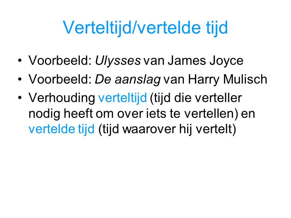 Verteltijd/vertelde tijd Voorbeeld: Ulysses van James Joyce Voorbeeld: De aanslag van Harry Mulisch Verhouding verteltijd (tijd die verteller nodig heeft om over iets te vertellen) en vertelde tijd (tijd waarover hij vertelt)