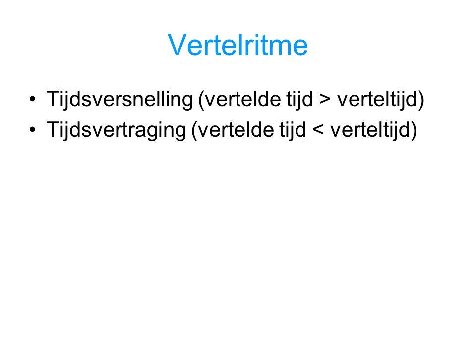 Vertelritme Tijdsversnelling (vertelde tijd > verteltijd) Tijdsvertraging (vertelde tijd < verteltijd)