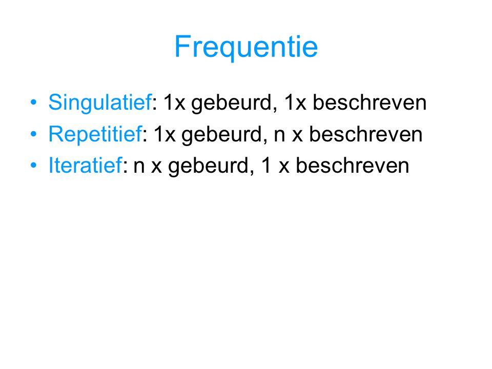 Frequentie Singulatief: 1x gebeurd, 1x beschreven Repetitief: 1x gebeurd, n x beschreven Iteratief: n x gebeurd, 1 x beschreven