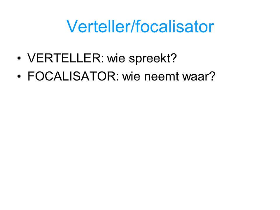 Verteller/focalisator VERTELLER: wie spreekt? FOCALISATOR: wie neemt waar?