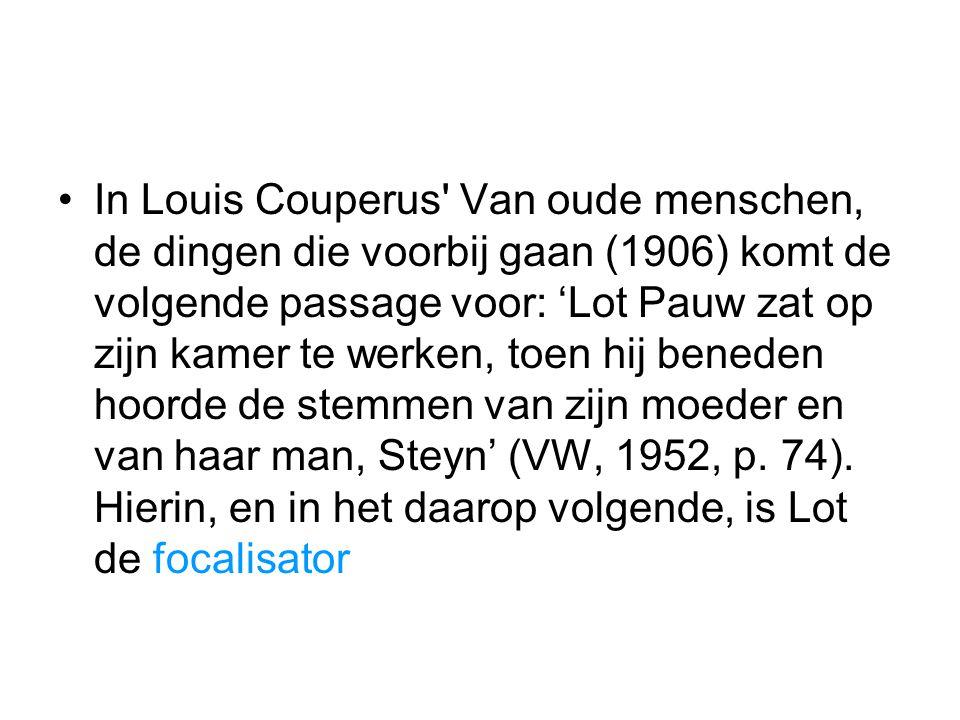 In Louis Couperus' Van oude menschen, de dingen die voorbij gaan (1906) komt de volgende passage voor: 'Lot Pauw zat op zijn kamer te werken, toen hij
