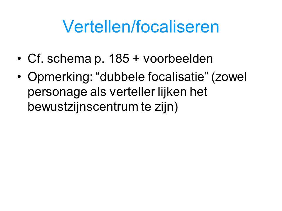 """Vertellen/focaliseren Cf. schema p. 185 + voorbeelden Opmerking: """"dubbele focalisatie"""" (zowel personage als verteller lijken het bewustzijnscentrum te"""