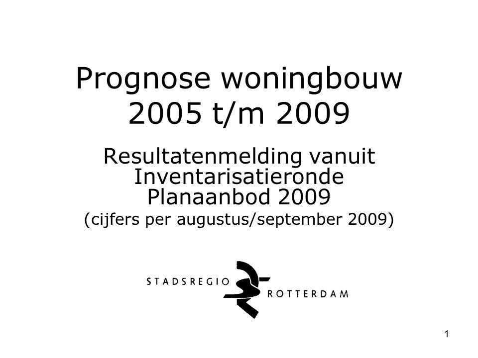 1 Prognose woningbouw 2005 t/m 2009 Resultatenmelding vanuit Inventarisatieronde Planaanbod 2009 (cijfers per augustus/september 2009)