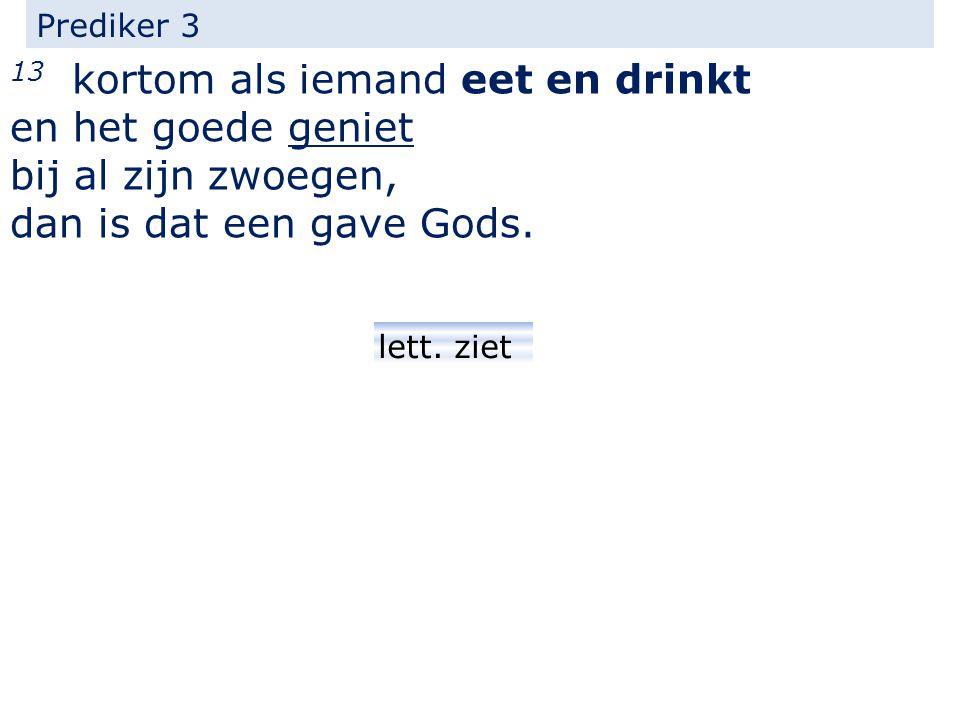 Prediker 3 13 kortom als iemand eet en drinkt en het goede geniet bij al zijn zwoegen, dan is dat een gave Gods.