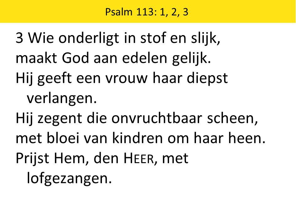 3 Wie onderligt in stof en slijk, maakt God aan edelen gelijk.