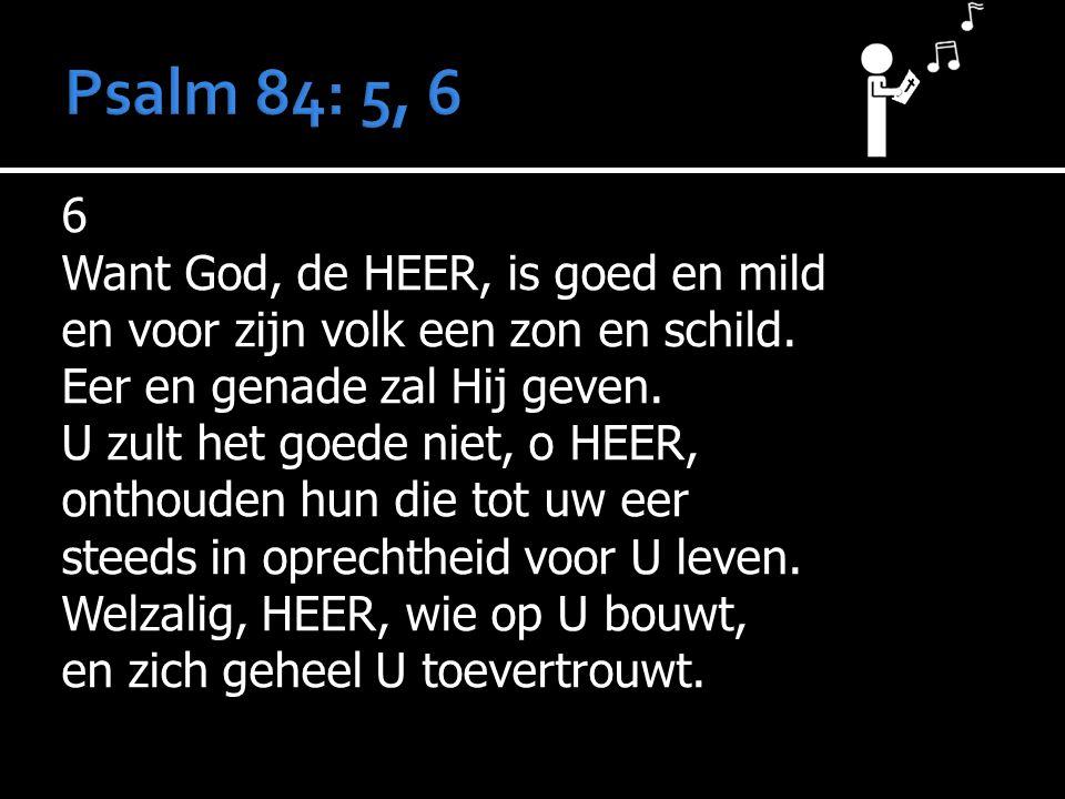 6 Want God, de HEER, is goed en mild en voor zijn volk een zon en schild. Eer en genade zal Hij geven. U zult het goede niet, o HEER, onthouden hun di
