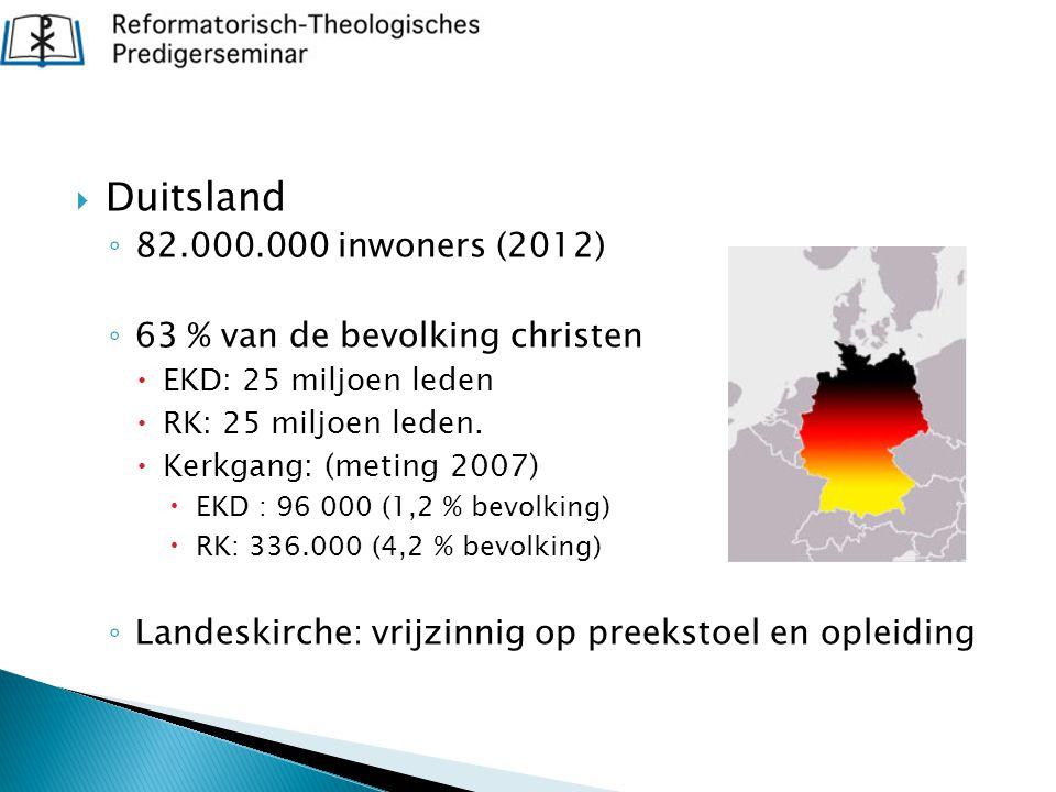  Duitsland ◦ 82.000.000 inwoners (2012) ◦ 63 % van de bevolking christen  EKD: 25 miljoen leden  RK: 25 miljoen leden.  Kerkgang: (meting 2007) 