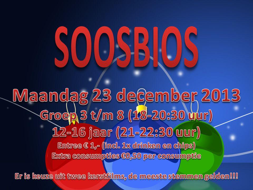 Maandag 23 december 2013 Groep 3 t/m 8 v.a. 18-20:30 uur 12 t/m 16 jaar 21-22:30 uur