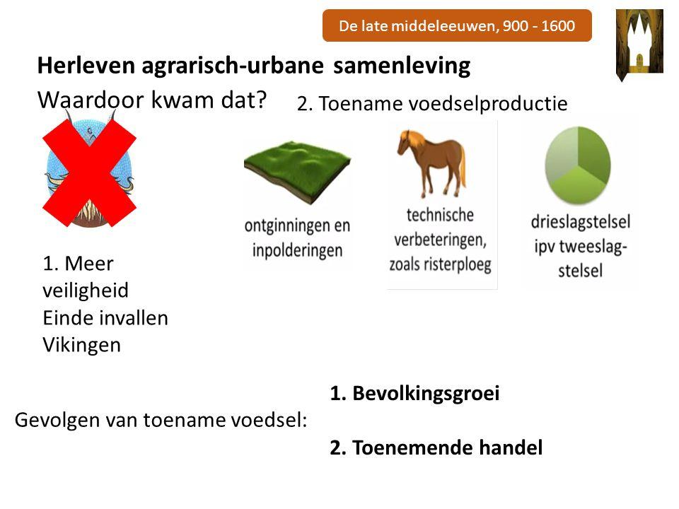 De late middeleeuwen, 900 - 1600 Herleven agrarisch-urbane samenleving Waardoor kwam dat.