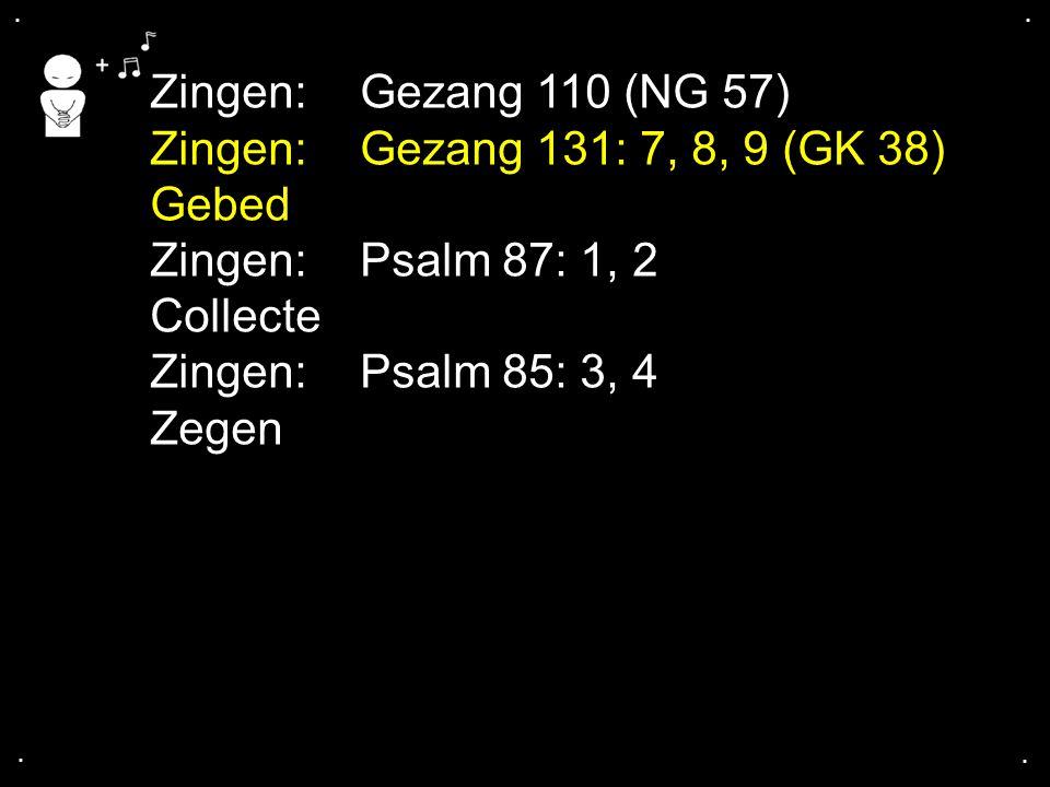 .... Zingen:Gezang 110 (NG 57) Zingen:Gezang 131: 7, 8, 9 (GK 38) Gebed Zingen:Psalm 87: 1, 2 Collecte Zingen:Psalm 85: 3, 4 Zegen