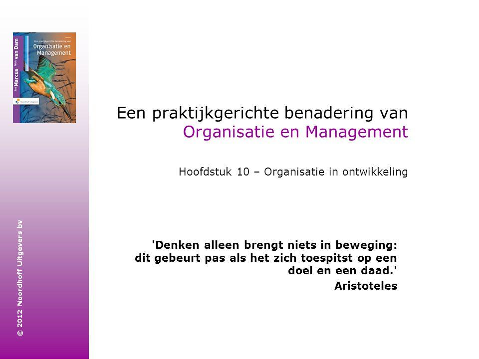 © 2012 Noordhoff Uitgevers bv Een praktijkgerichte benadering van Organisatie en Management Hoofdstuk 10 – Organisatie in ontwikkeling 'Denken alleen