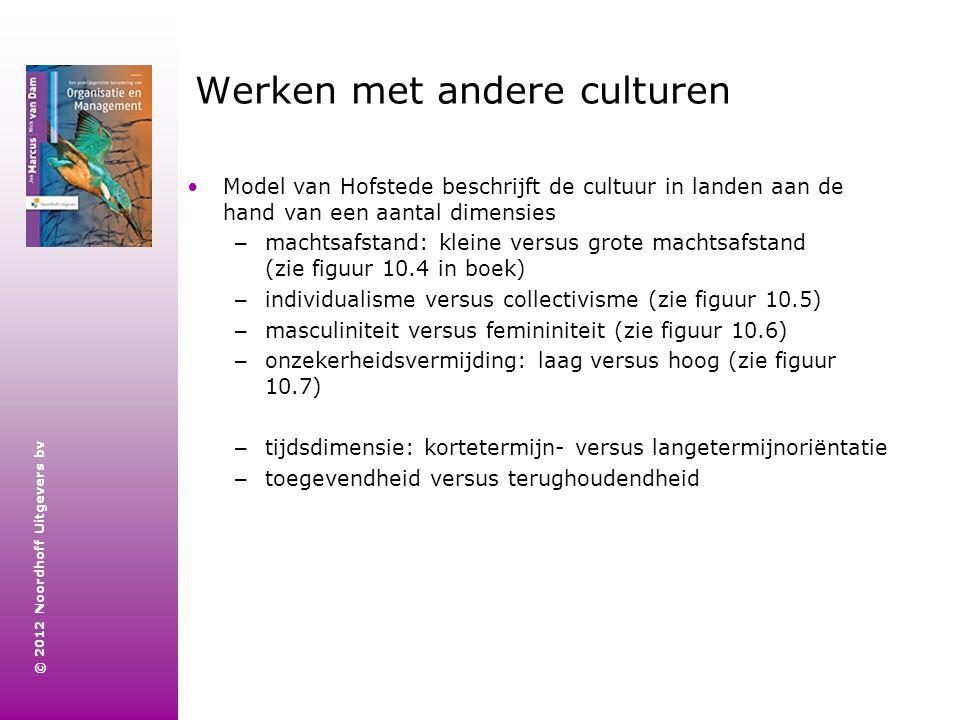 © 2012 Noordhoff Uitgevers bv Werken met andere culturen Model van Hofstede beschrijft de cultuur in landen aan de hand van een aantal dimensies – mac