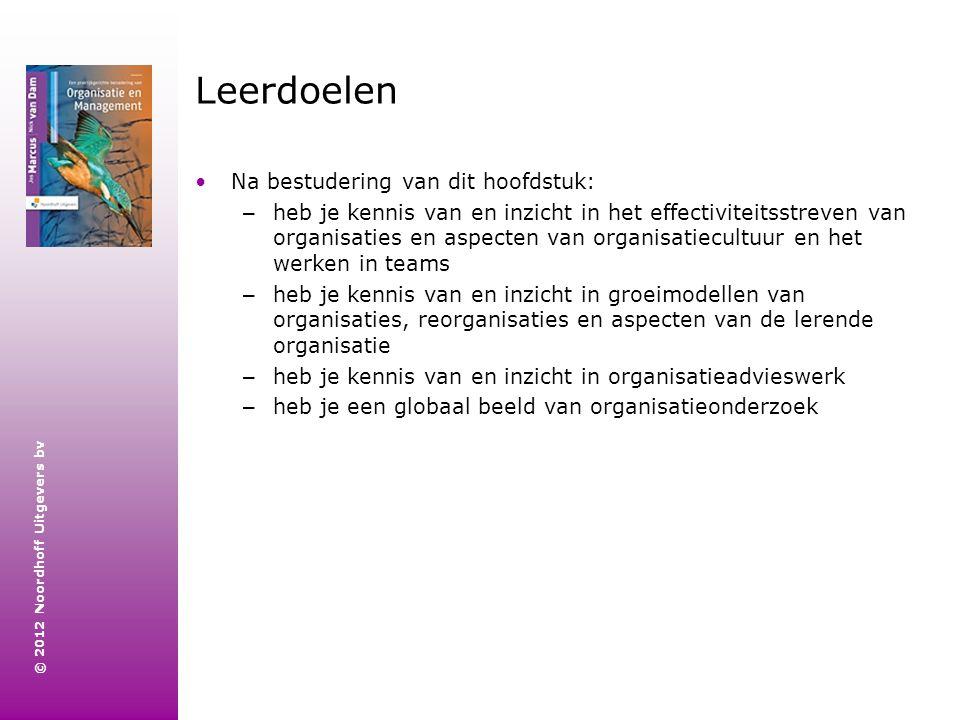 © 2012 Noordhoff Uitgevers bv Leerdoelen Na bestudering van dit hoofdstuk: – heb je kennis van en inzicht in het effectiviteitsstreven van organisatie