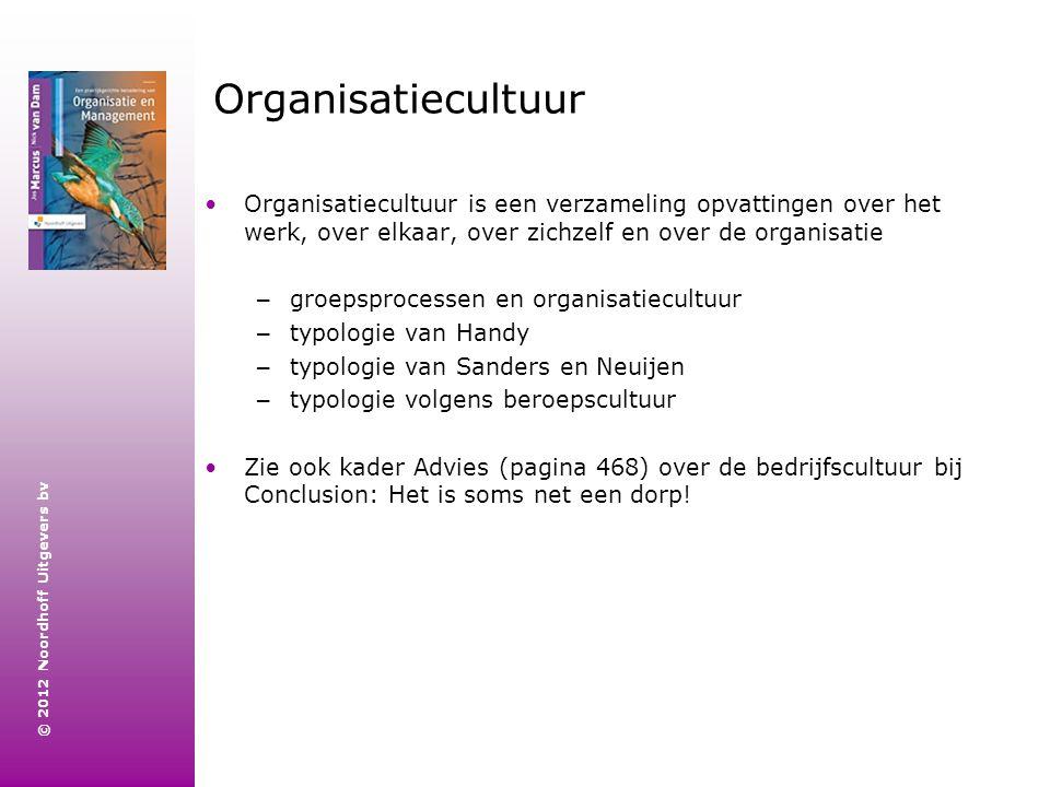 © 2012 Noordhoff Uitgevers bv Groepsprocessen en organisatiecultuur Centraal in deze benadering staat de groepsoriëntatie.
