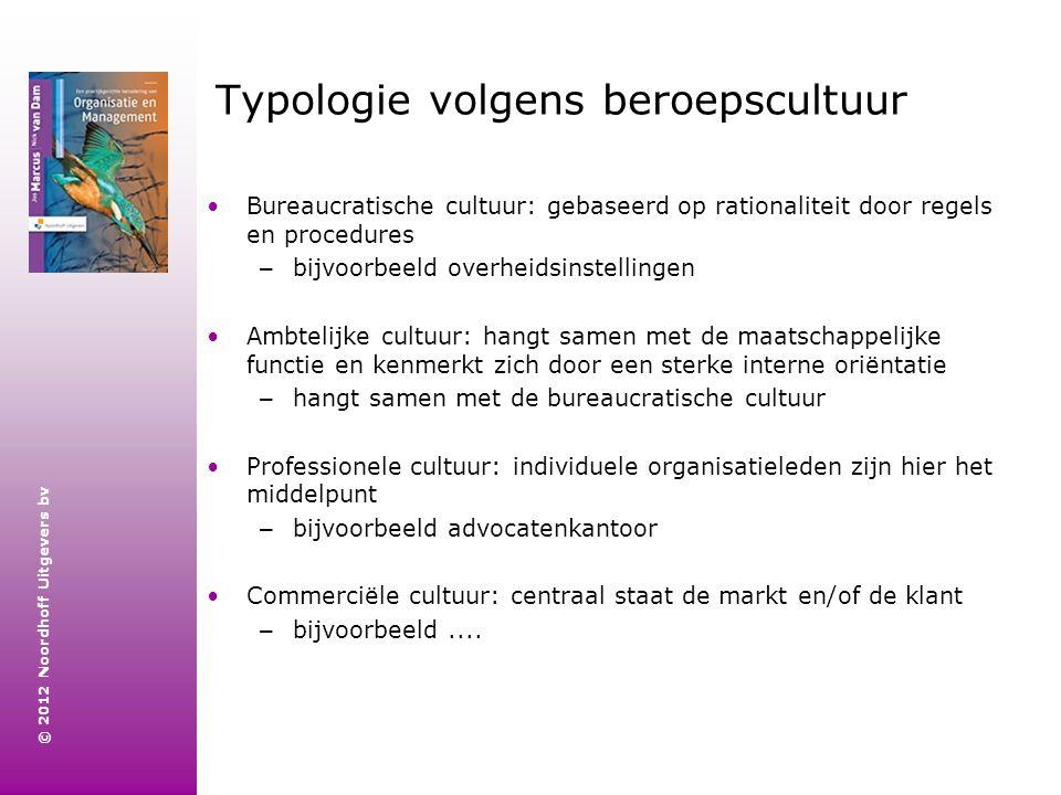 © 2012 Noordhoff Uitgevers bv Typologie volgens beroepscultuur Bureaucratische cultuur: gebaseerd op rationaliteit door regels en procedures – bijvoor