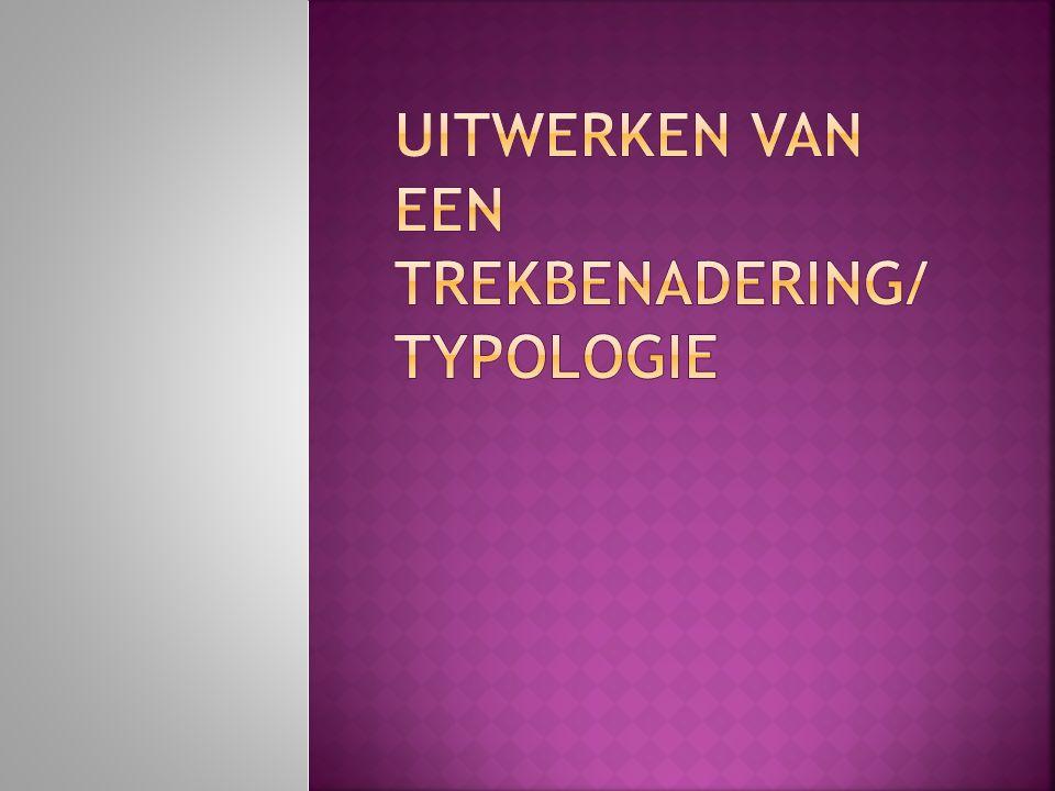  Vier groepjes, elk groepje werkt één typologie of trekbenadering uit.