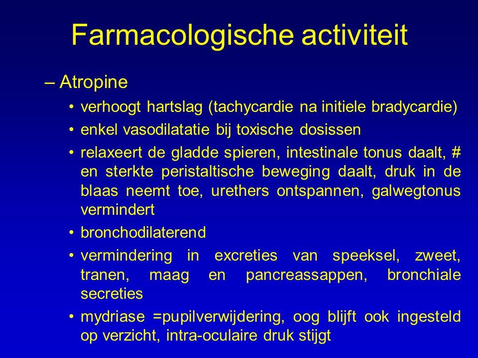 –Atropine verhoogt hartslag (tachycardie na initiele bradycardie) enkel vasodilatatie bij toxische dosissen relaxeert de gladde spieren, intestinale t