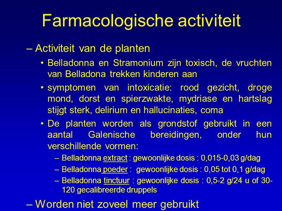 Farmacologische activiteit –Activiteit van de planten Belladonna en Stramonium zijn toxisch, de vruchten van Belladona trekken kinderen aan symptomen