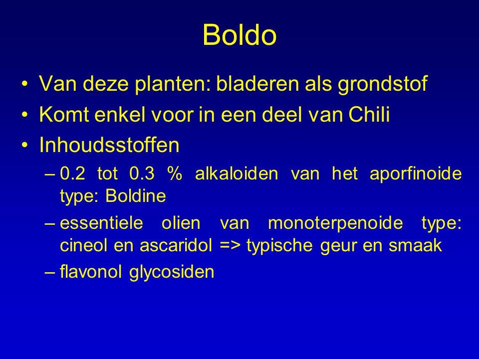 Boldo Van deze planten: bladeren als grondstof Komt enkel voor in een deel van Chili Inhoudsstoffen –0.2 tot 0.3 % alkaloiden van het aporfinoide type