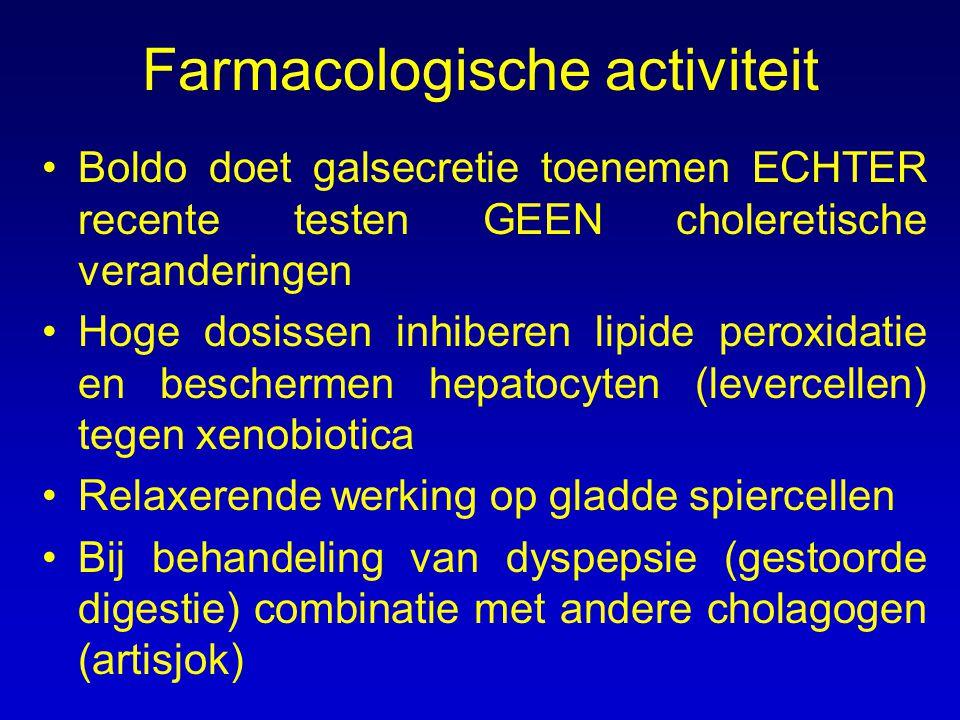 Farmacologische activiteit Boldo doet galsecretie toenemen ECHTER recente testen GEEN choleretische veranderingen Hoge dosissen inhiberen lipide perox