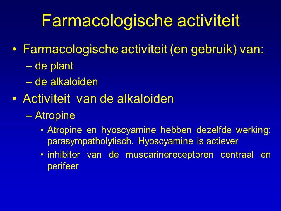 Farmacologische activiteit Farmacologische activiteit (en gebruik) van: –de plant –de alkaloiden Activiteit van de alkaloiden –Atropine Atropine en hy
