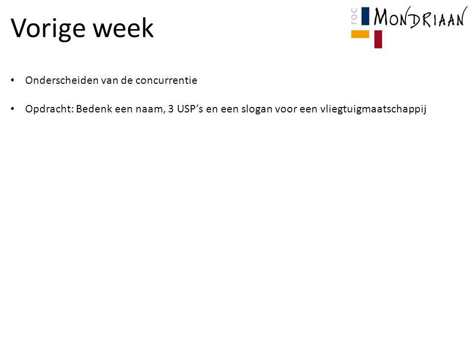 Vorige week Onderscheiden van de concurrentie Opdracht: Bedenk een naam, 3 USP's en een slogan voor een vliegtuigmaatschappij