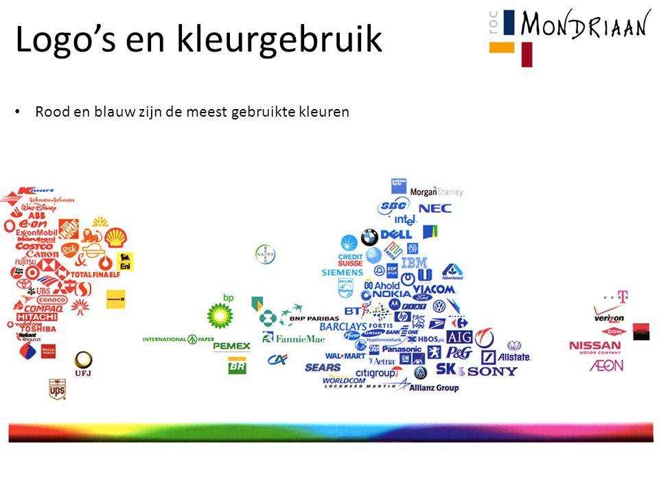 Logo's en kleurgebruik Rood en blauw zijn de meest gebruikte kleuren