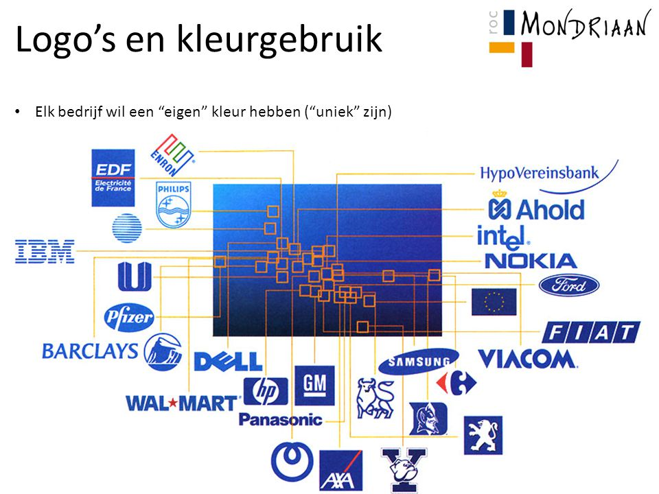 Logo's en kleurgebruik Elk bedrijf wil een eigen kleur hebben ( uniek zijn)