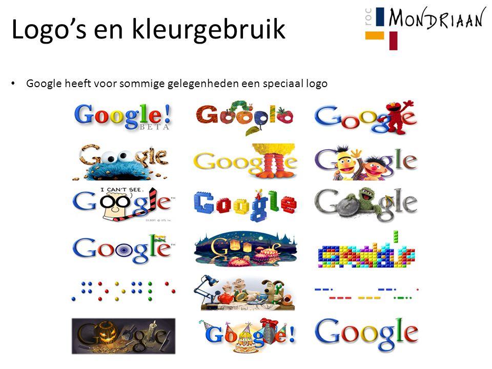 Logo's en kleurgebruik Google heeft voor sommige gelegenheden een speciaal logo